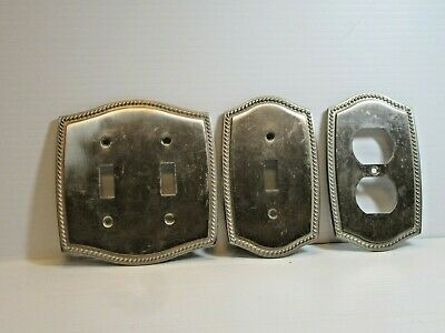 Lot of 3, 2003 LHMC Victorian Style Switch Plate Covers Braid Aluminum