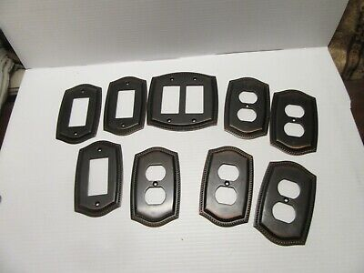 Lot of 9,Dark Bronze Victorian Style Switch Plate Covers Braid