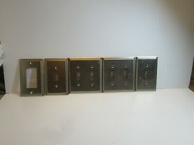 Lot of 5,Aluminum Switch Plate Covers Braid