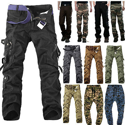 Men's Camo Pockets Military Cargo Pants Army Combat Casual Work Jeans Trousers