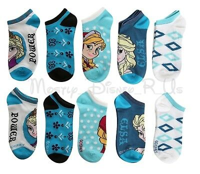 New Disney Frozen ELSA ANNA Power No-Show Socks 5 (Pr) Pair No-Show Ankle Socks