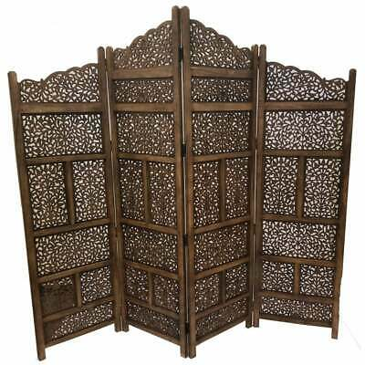 Benzara Hand Carved Foldable 4 Panel Wooden Partition Brown