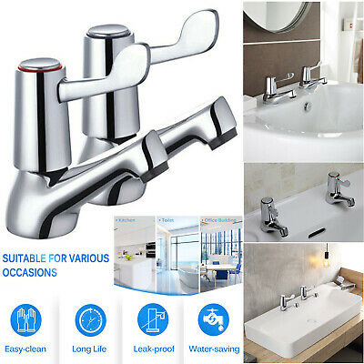 "MODERN DESIGN CHROME CERNA LEVER BASIN SINK TAPS 1//4/"" TURN hot and cold 1 pair"