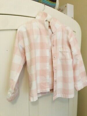 The Little White Company Girls Pink Check Soft Cotton Pyjamas 5-6 Years