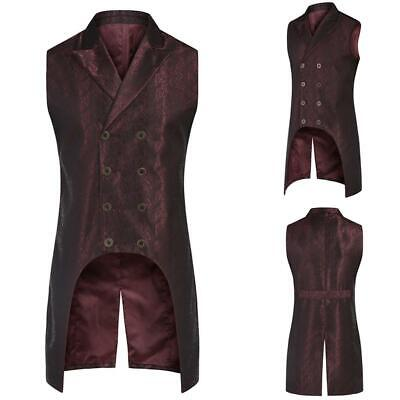 Men Fashion Turn Down Collar Sleeveless Jacquard Floral Gothic Waistcoat IL1