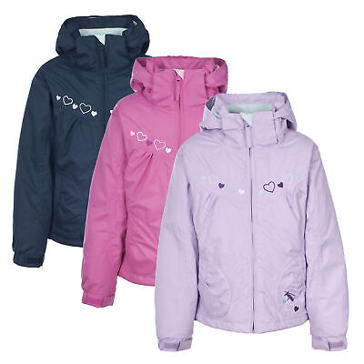 Trespass Amie Girls Waterproof Jacket Padded Hooded Rain Coat for School Walking