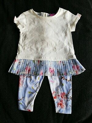 Girls Ted Baker T-shirt And Leggings Outfit 9-12 Months