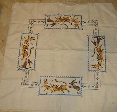 VINTAGE Embroidered TABLE SQUARE TIGERS and Jackals or ? CROSS STITCH tablecloth
