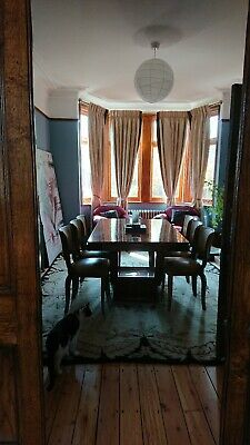 Antique Art Deco Burr Walnut Dining Table & 6 Walnut & Leather Chairs