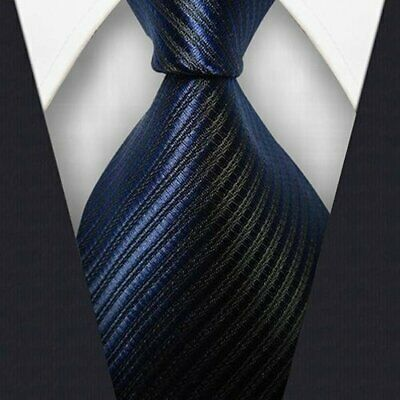 Mens Classic Striped Tie JACQUARD WOVEN 100% Silk Ties Necktie Dark Blue #L288