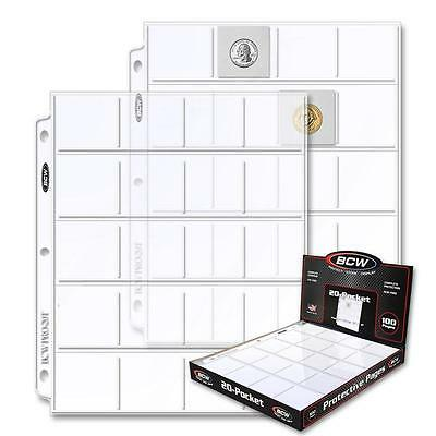 1 Box of 100 BCW 20 Pocket Pages Coin Storage 2 x 2 Holders Sheets