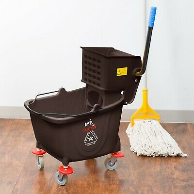 35 Qt. Brown Janitorial Rolling Mop Bucket & Side Press Wringer Combo