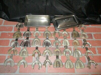 Lot Of 34 Vintage Dental Denture Impression Trays plus 2 Stainless Trays