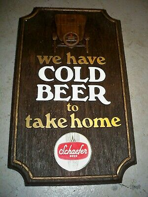 Vintage Schaefer Beer Brewing Bar Man Cave Wall Sign Faux Wood 60'S Model-T Car