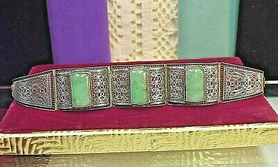"Estate antique Chinese silver filigree 7 "" Jade bracelet"