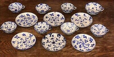 Antique Chinese Blue & White EIGHT 8 Tea Cups SIX 6 Saucers Porcelain Mixed Set