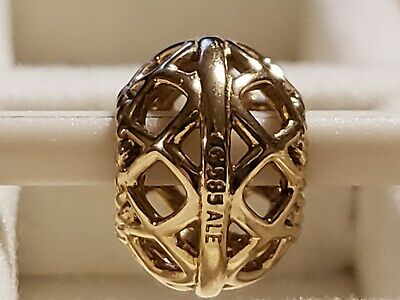 Authentic Pandora Open Lattice 14k 585 Gold ALE Bead #750470 Charm Retired
