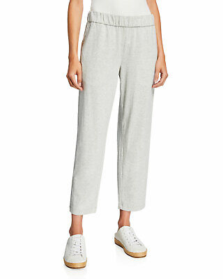 Eileen Fisher Moon Gray Slouchy Organic Cotton Speckled Knit Cuff Ankle Pants XL