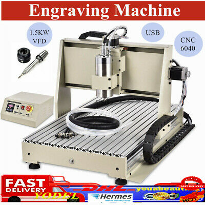3 Axis CNC6040 Router Engraving Machine DIY USB Drilling Carving Milling 1.5KW