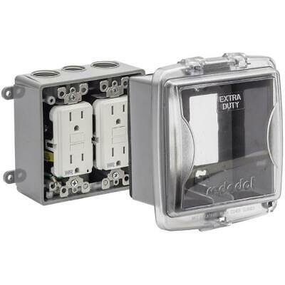 2 Gang While-In-Use Clear Medium PVC Weatherproof GFCI Receptacle Cover Kit
