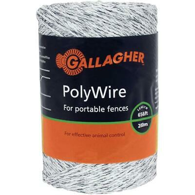 200m White Electric Fence Polywire