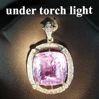 Change Blue Purple Spinel Pendant Concave 38.40 Ct. Sapp 925 Sterling Silver