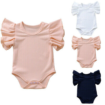 Newborn Infant Baby Boys Girls Solid Ruffle Romper Bodysuit Clothes Outfits
