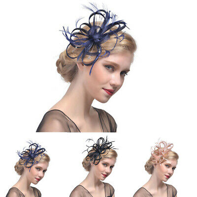 Ladies Womens Elegant Sinamay Flower Feather Headband Fascinator Hair Band CY1
