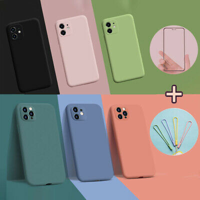 Case For iPhone 11 Pro Max Liquid Silicone Shockproof Cover+Screen Protector