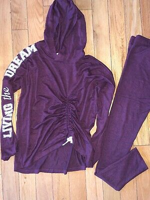 H&M Girls Hoody & Leggings Plum Tracksuit Outfit Age 14 +