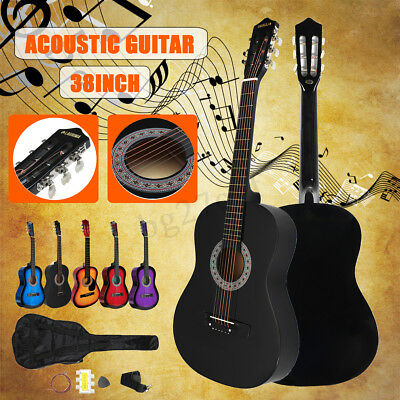 38'' Beginners Acoustic Guitar with Guitar Case Strap Tuner & Pick New Year
