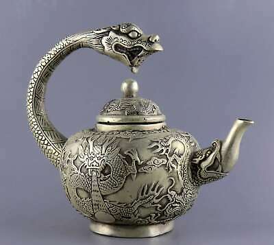 Collect China Antique Tibet Silver Carve Myth Roar Dragon Delicate Noble Tea pot