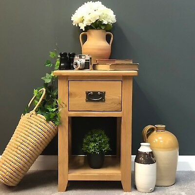Oak Lamp Table / Solid Wood Side Table Small Coffee Table with Drawer Grange NEW