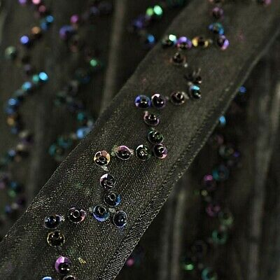 Dress 15mm Sequin Lace Fabric Double Row Trim Costumes Crafts  Jet Black SQ2