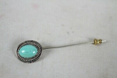 Vintage Sterling Silver Turquoise Pin Brooch Signed Marked LP Jewelry