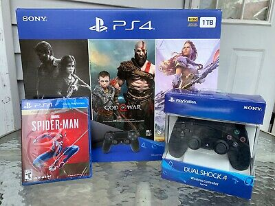 New Sony PlayStation 4 PS4 Slim 1TB Console  4 Game Bundle extra controller