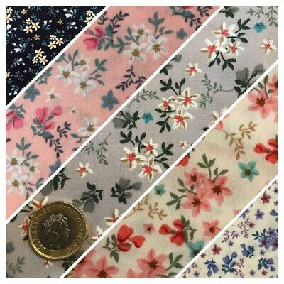 Floral Printed 100% Cotton Fabric, Rose & Hubble - Sewing, Cream, Pink, Blue
