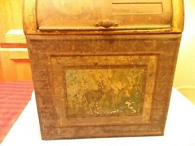 Antique Tin General Store Tin Coffee Spice Counter Bin Norton Bros. Chicago