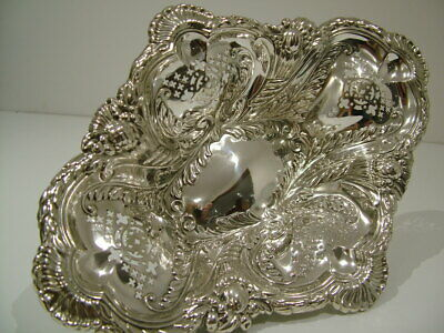 LARGE 392Gr HM1898 ANTIQUE SOLID ENGLISH SILVER VICTORIAN FRUIT DISH BOWL 019