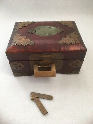 Old Chinese Wooden Carved Jade Brass Jewelry Trinket Box with Silk Interior