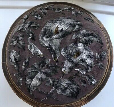 Antique Victorian Beadwork Foot Stool Hand Beaded Footstool Carriage Rest