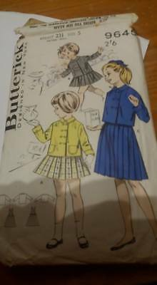 BUTTERICK 9645 size 5 pleat skirt   SEWING PATTERN   childs winter outfit