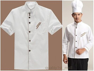 Kitchen Chef Jacket Coat Restaurant Catering Cooker Sleeve 2 Types White Uniform