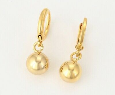 24ct/9ct Yellow Gold Filled Ladies One-Ball Drop/Dangle Earrings