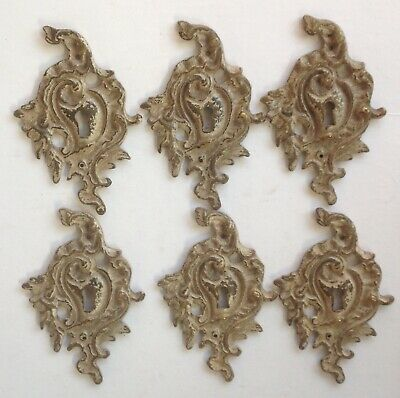 6 Vintage Antique Furniture Keyhole Escutcheons Ormolu Solid Brass French Design