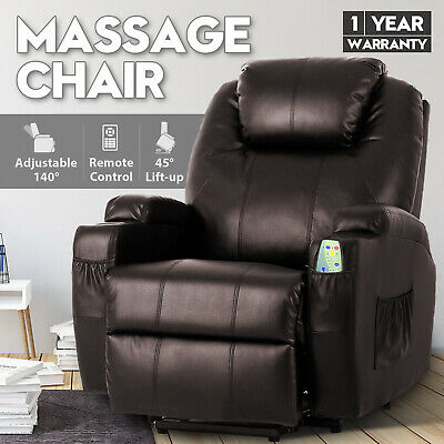 Electric Massage Lift Chair Heated Recliner Chair Lounge Sofa PU Leather Seat
