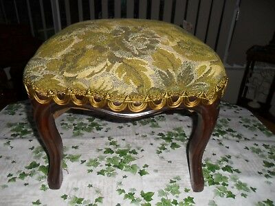 Antique Victorian Green Upholstered Stool. Very good condition.