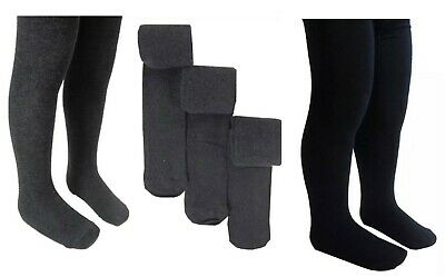 New Ex M*S Girls Kids 3 Pack Grey Black Cotton Rich Thick School Tights 4 -14 Yr