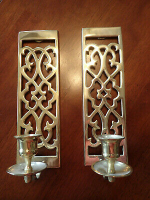 """Pair Classic Colonial Style Solid Brass Wall Mounted Candle Holder Sconce 10""""x3"""""""