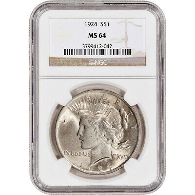1924 US Peace Silver Dollar $1 - NGC MS64